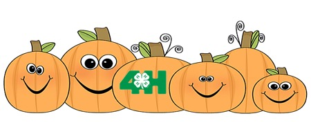 pumpkin clipart with smiley faces and a 4-H logo