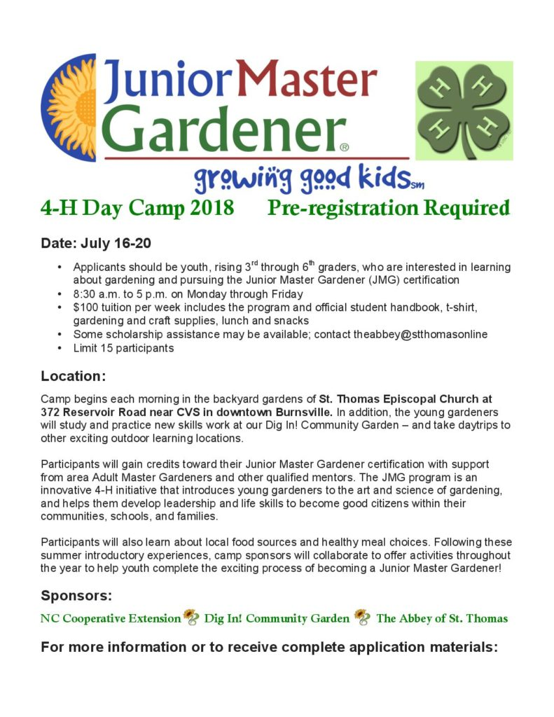 Junior Master Gardener Camp | North Carolina Cooperative Extension