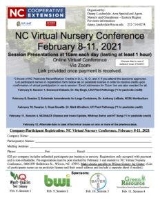 Cover photo for NC Virtual Nursery Conference  February 8-11, 2021