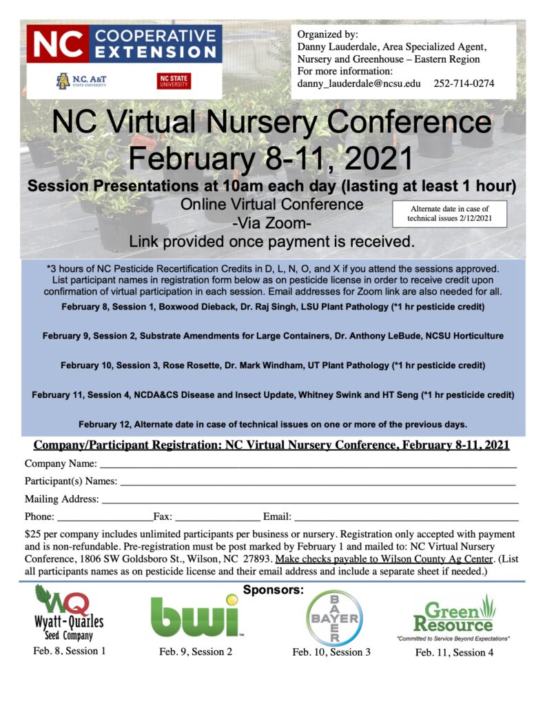 Flyer and registration page for NC Virtual Nursery Conference, February 8-11, 2021
